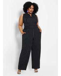 Ashley Stewart Plus Size Striped Wide-leg Jumpsuit - Black