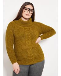 Ashley Stewart - Plus Size Cowl Neck Cable Front Sweater - Lyst