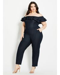 Ashley Stewart Plus Size Ruffled Denim Jumpsuit - Blue