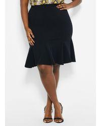 Ashley Stewart Plus Size Scuba Crepe Godet Skirt - Black