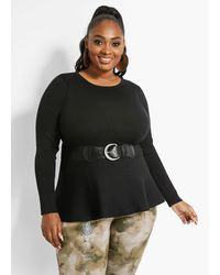 Ashley Stewart Plus Size Belted Peplum Sweater - Black