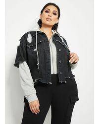 Ashley Stewart Plus Size Hooded Denim Crop Jacket - Black