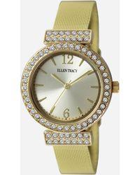 Ashley Stewart Plus Size Stone-embellished Mesh Watch - Metallic