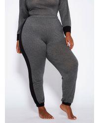 Ashley Stewart Plus Size Color Blocked Sleep Pant - Gray