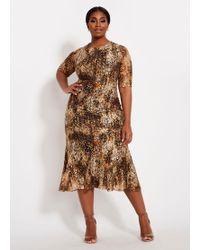 cbcef8900f2 Ashley Stewart - Plus Size Tall Lace Animal Mermaid Maxi Dress - Lyst