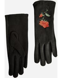 Ashley Stewart - Rose Embroidered Suede Gloves - Lyst