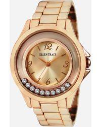 Ashley Stewart Plus Size Timeless Rose Gold Floating Stones Watch - Metallic