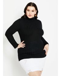 Ashley Stewart Classic Rib Knit Turtleneck Sweater - Black