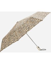 Ashley Stewart Totes Leopard Print Automatic Open And Close Umbrella - Brown