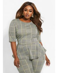 Ashley Stewart Plus Size Knit Plaid Peplum - Green