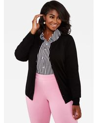 Ashley Stewart Button Front Knit Cardigan Sweater - Black