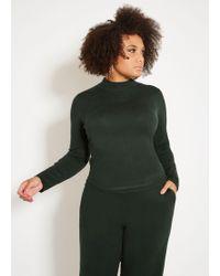 Ashley Stewart Plus Size Mock Neck Long Sleeve Sweater - Green
