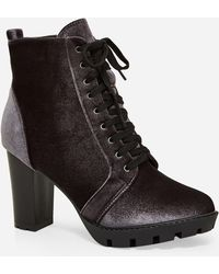 Ashley Stewart Lace Up Heeled Bootie - Gray