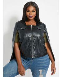 Ashley Stewart Plus Size Faux Leather Cape Jacket - Black