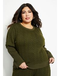Ashley Stewart Cable Knit Front Pull Over Sweater - Green