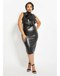 Ashley Stewart Plus Size Faux Leather Bodycon Dress - Black