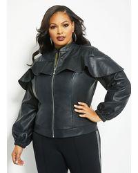 Ashley Stewart Plus Size Faux Leather Bomber - Black