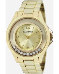 Ashley Stewart Plus Size Timeless Gold-tone Floating Stone Watch - Metallic