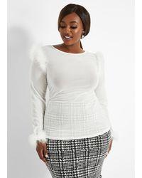 Ashley Stewart Plus Size Semi Sheer Feather Trim Top - White