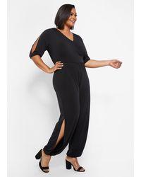 Ashley Stewart Plus Size Tall Harem Mock Wrap Jumpsuit - Black