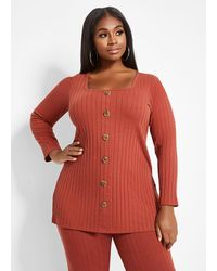 Ashley Stewart Plus Size Ribbed Square Neck Button Top - Red