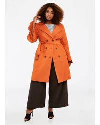 5885b499b8f Ashley Stewart - Plus Size Double Ruffle Sleeve Trench Coat - Lyst