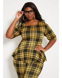 Ashley Stewart - Plus Size Gold Menswear Plaid Peplum Top - Lyst