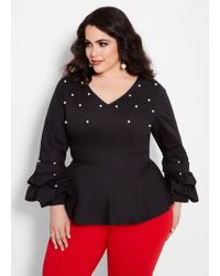 b09e9881bbc Lyst - Ashley Stewart Plus Size Tall Button Front Top With Tab ...