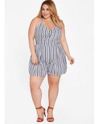 b10b2708f4a2 Ashley Stewart - Plus Size Striped Halter Neck Romper - Lyst