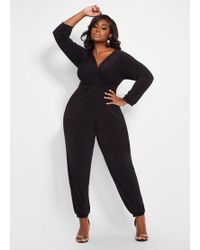 a478eb333db4 Ashley Stewart - Plus Size Knot Front Jogger Jumpsuit - Lyst