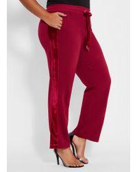 Ashley Stewart Plus Size Bebe Velour Stripe Jogger - Red