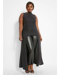 Ashley Stewart Plus Size Striped Lurex Duster - Black