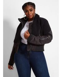 d8633474f13 Ashley Stewart - Plus Size La La Anthony Cropped Sherpa Bomber Jacket - Lyst