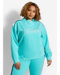 Ashley Stewart Jeweled Iconic Colorblock Pullover - Green