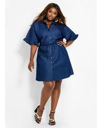 Ashley Stewart Plus Size Smock Waist Bell Sleeve Denim Dress in Blue ...