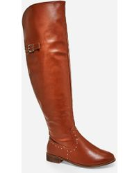Ashley Stewart Plus Size Tall Studded Buckle Boot - Brown
