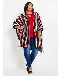 Ashley Stewart Plus Size Striped Hooded Cardigan - Red