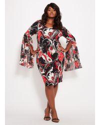 Lyst - Ashley Stewart Plus Size Balloon Sleeve Embellished Dress in Red