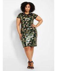 40285d224bd Ashley Stewart - Plus Size Camo Pattern Sequin Sheath Dress - Lyst