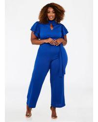 24e4a4fd2b0 Ashley Stewart - Plus Size Ruffle Sleeve Keyhole Jumpsuit - Lyst
