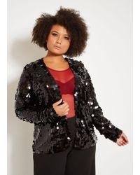 1e54911f038 Lyst - Ashley Stewart Plus Size Tulip Print Zip Up Jacket in Black