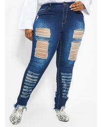 Ashley Stewart Plus Size Intense Destructed Skinny Jean - Blue