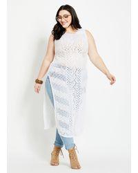 Ashley Stewart Plus Size White Crocheted Slit Sweater