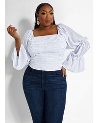 Ashley Stewart Plus Size Pintuck Peasant Blouse - White