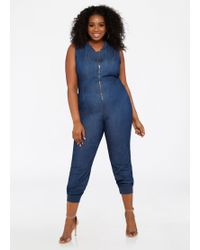 aecd0e09cb7 Ashley Stewart - Plus Size Denim Zip Up Jogger Jumpsuit - Lyst