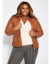 7074b2582d3 Lyst - Charlotte Russe Plus Size Faux Leather Moto Jacket in Brown