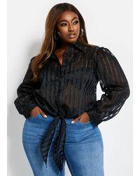 Ashley Stewart Plus Size Striped Organza Button-up - Black