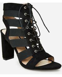 Ashley Stewart Carly Caged Lace Up Sandal - Black