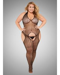 Ashley Stewart - Plus Size Open Back Lace Cutout Bodysuit - Lyst