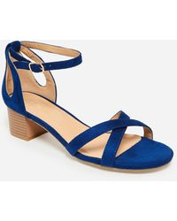 Ashley Stewart Sole Lift Faux Wide Width Sandal - Blue